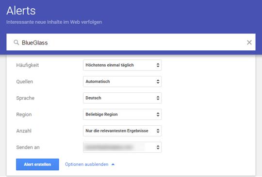 Google Alerts Eingabemaske