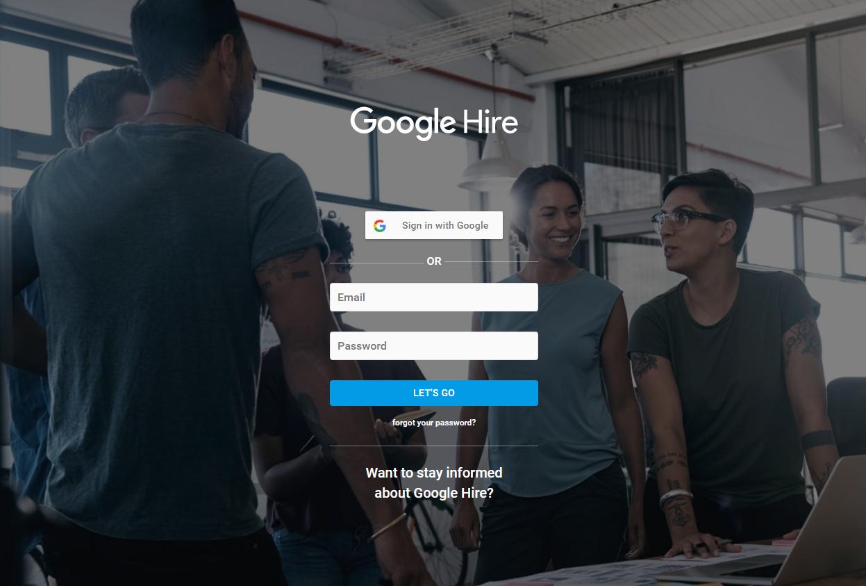 Login-Screen von Google Hire