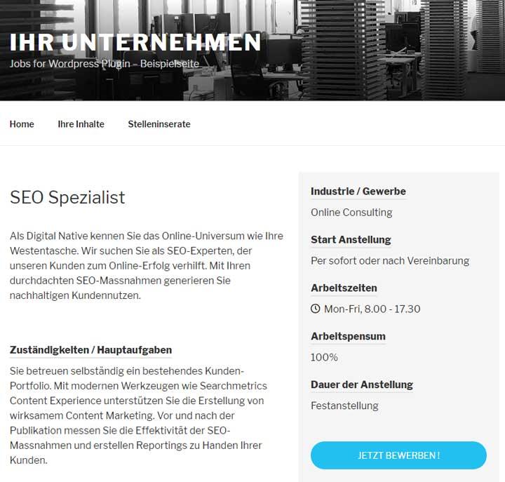 Beispielhaftes Jobinserat, strukturiert mit Schema.org formatiert dank Jobs for WordPress Plugin