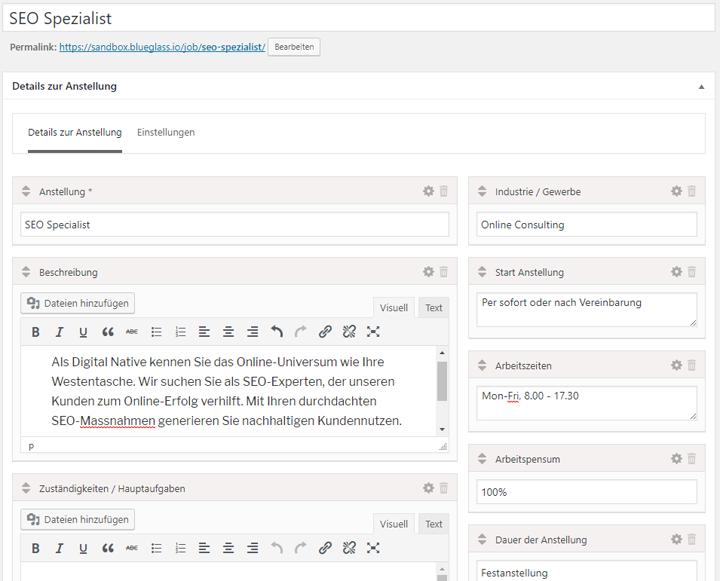 Jobinserate im WordPress-Plugin für strukturierte Schema.org-Auszeichnungen