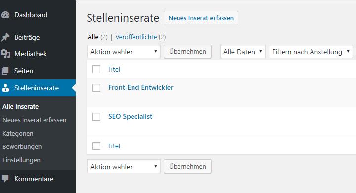 Wordpress-Plugin für Stelleninserate mit JSON-LD gemäss Schema.org/JobPosting