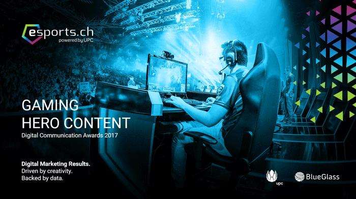 "Deckblatt der Präsentation des Konzepts hinter ""eSports - Gaming Hero Content"""