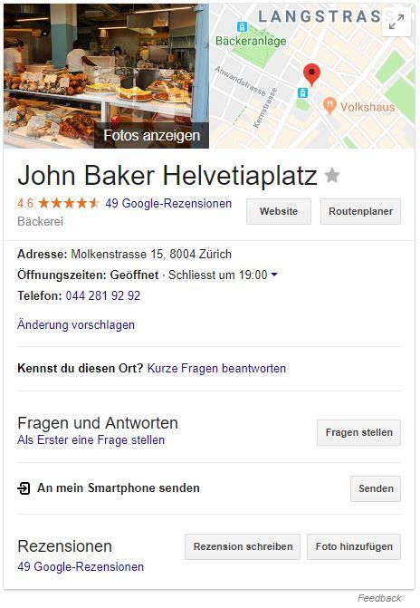 """Knowledge Graph für die Google-Suche """"John Baker Helvetiaplatz"""""""