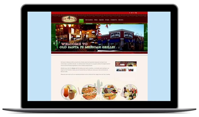Screenshot einer Restaurant Website