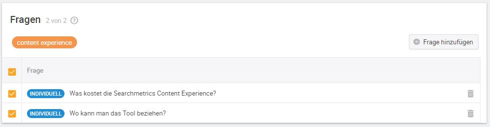 Searchmetrics Content Experience thematische Fragen
