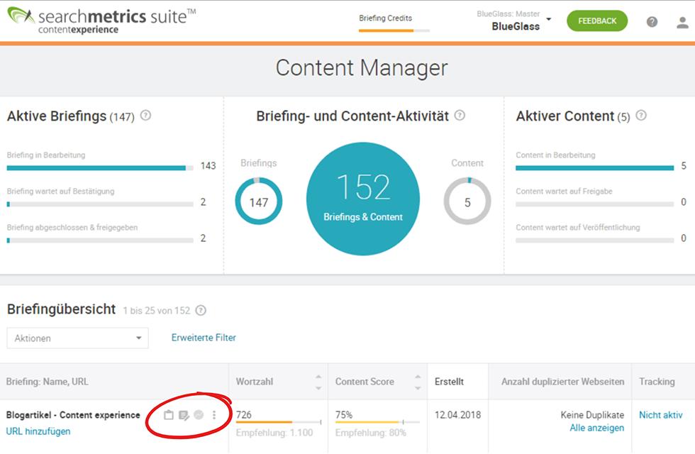 Content Manager mit den 3 Modulen der Searchmetrics Content Experience