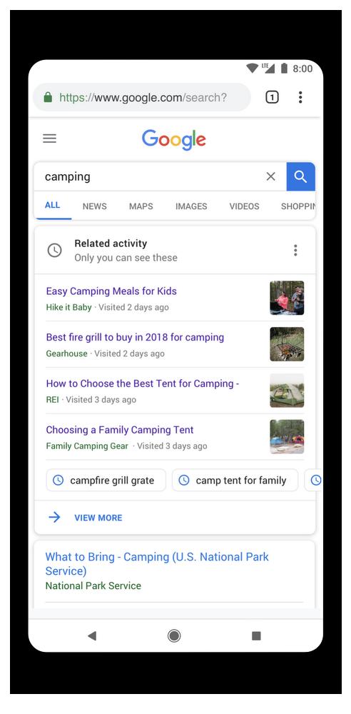 Aktivitätskärchen der neuen Google-Suche.