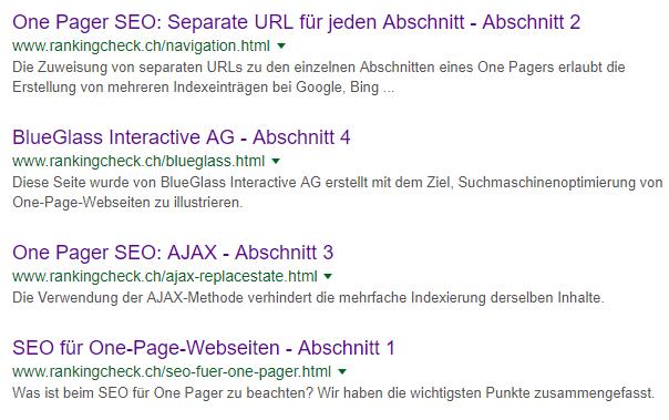 Screenshot Google Indexierung One-Page-Website
