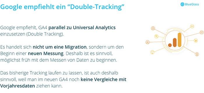 Google empfiehlt ein Doppeltracking mit Universal Analytics und Google Analytics 4