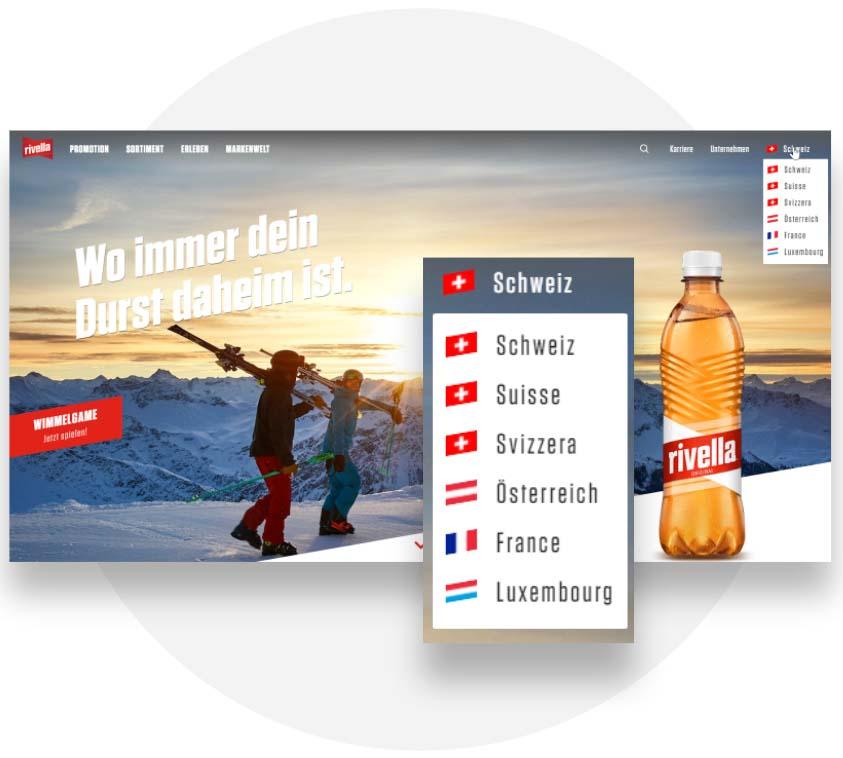 Ländervarianten der Rivella Corporate-Webseite